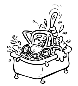Car in a tub with a scrub to illustrate lifestyle change start
