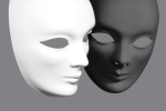One white mask and one black on to illustrate 'dualism' as a concept where mind and body are separate entities