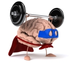 A Brain lifting weights to illustrate importance of exercise for a healthy brain function