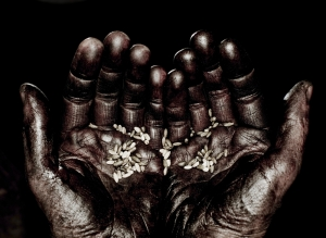Hands with a few grains to illustrate hunger