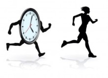Clock chasing running woman to illustrate need for lifestyle change
