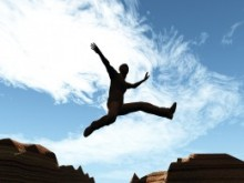 Man jumping over a hill to illustrate lifestyle choice