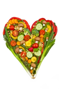Vegetables in a heart shape