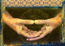 Hands with arabic frame , latin text and mind map behind